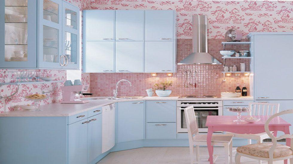 pink walls and backsplash in this pastel kitchen pastel home decor shabby chic kitchen green on kitchen decor pink id=59160