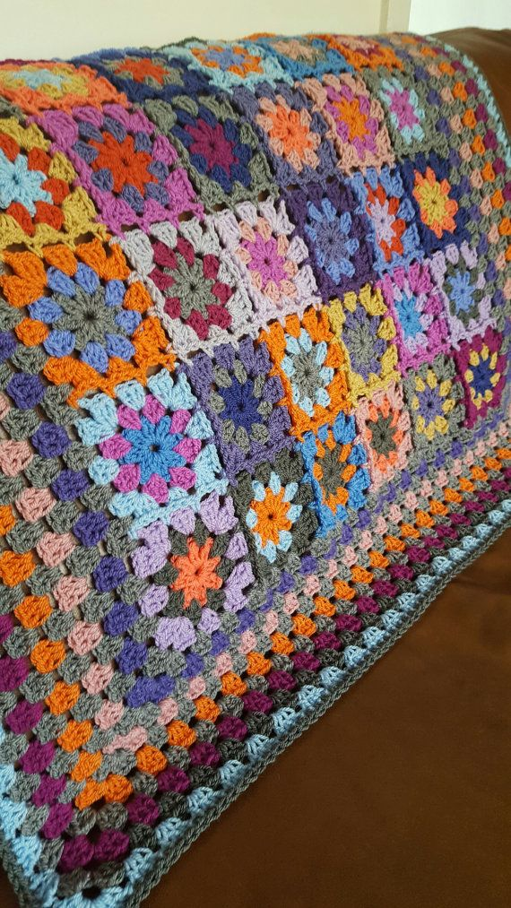 Crochet Blanket Kaleidoscope Flower Granny Squares Afghan Orange ...