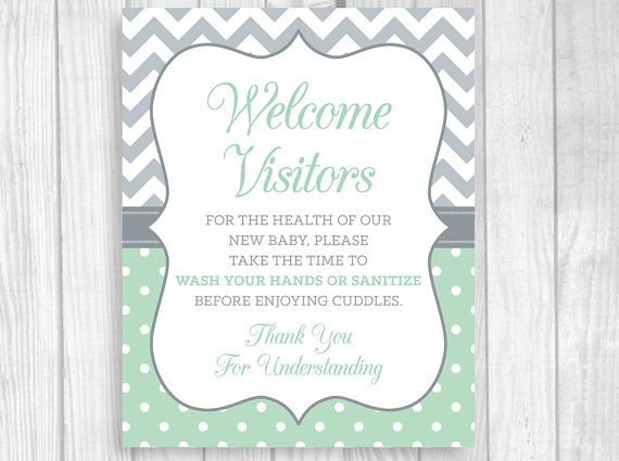 Printable 8x10 Please Wash Your Hands Meet And Greet Mint And