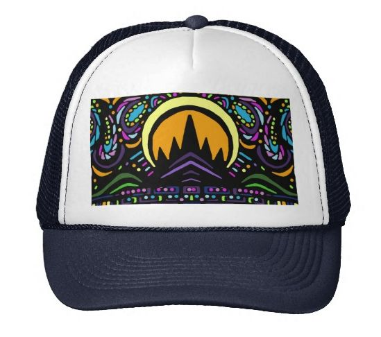 """Trucker Hat polyester foam front nylon mesh back keeps you cool Adjustable from 17"""" to 24"""" Available in 11 color combinations Color shown is White/Navy"""