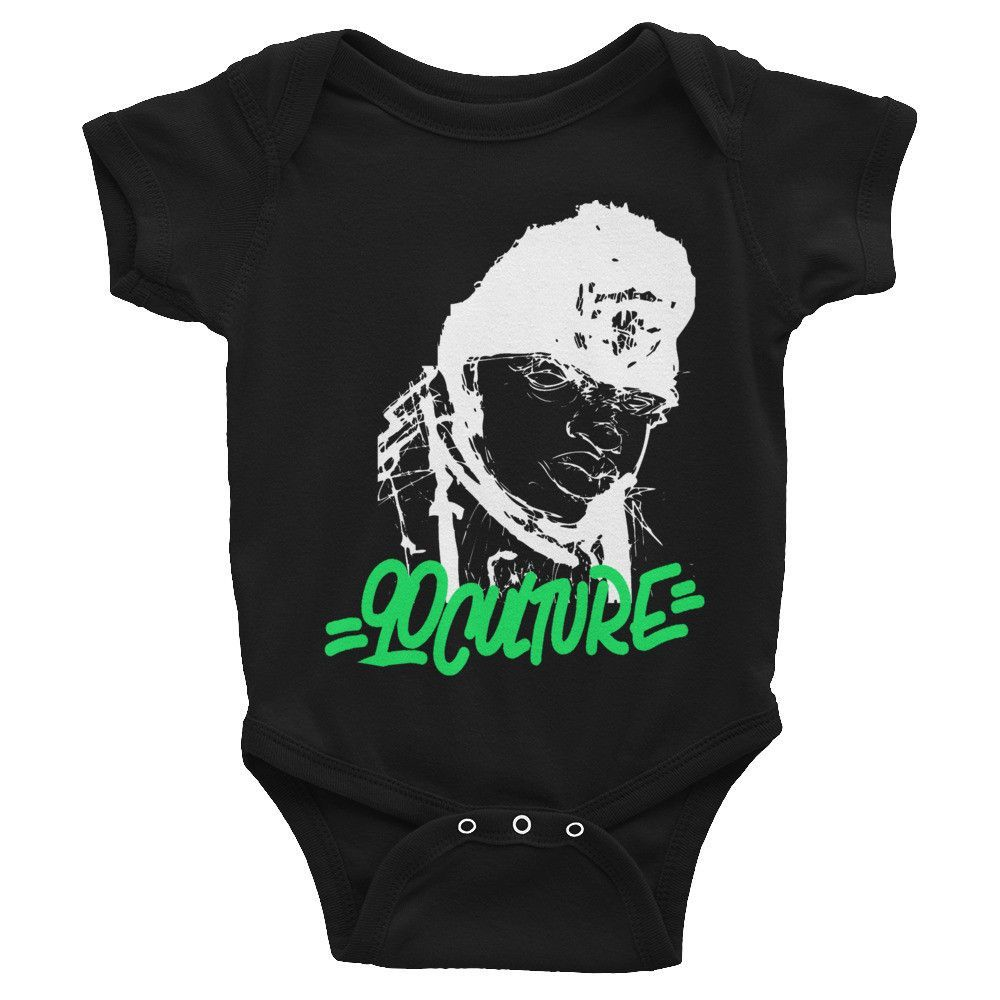 Biggie Onesie - White & Lime Green