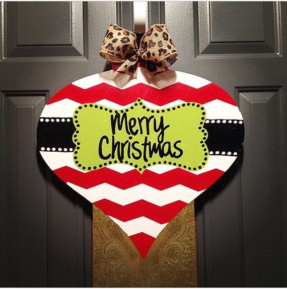 Wooden Christmas ornament door hanger Can be personalized with
