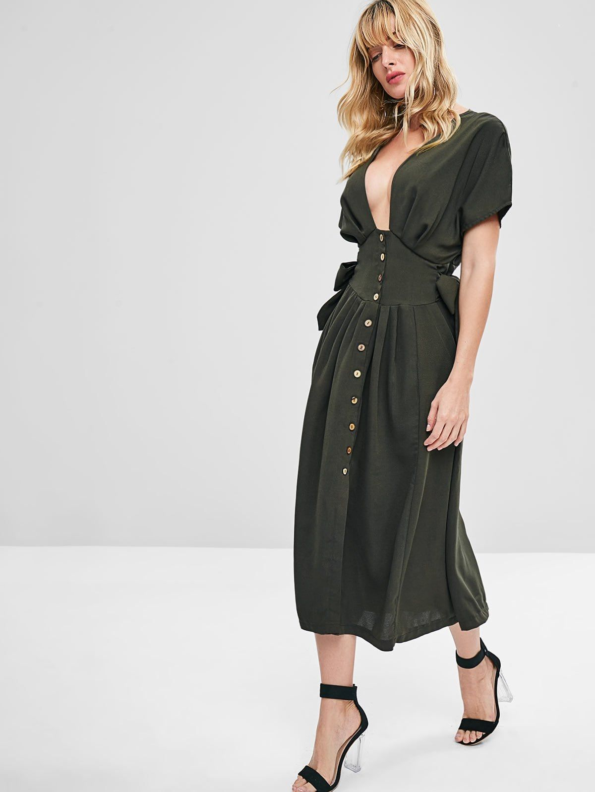 Knotted Button Up Midi Dress Army Green Affiliate Midi Button Knotted Green Army Ad Cute Casual Dresses Casual Dresses For Women Casual Dresses [ 1596 x 1200 Pixel ]