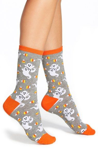 Hot Sox 'Candy Corn Ghosts' Crew Socks (3 for $15) | Nordstrom
