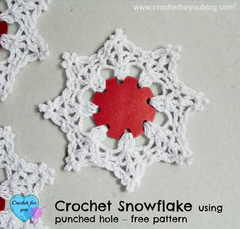 Crochet Snowflake using punched hole - free pattern