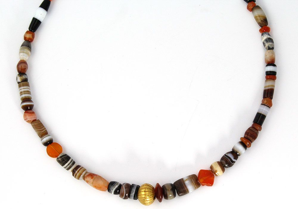 A Western Asiatic Banded Agate & Gold Bead Necklace, ca. 1st millenniu   Sands of Time Ancient Art