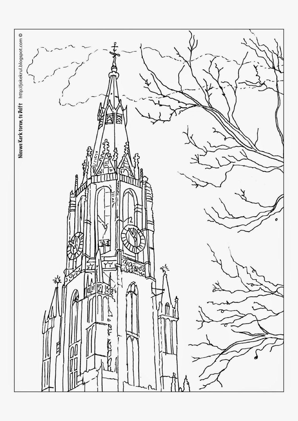 nieuwe kerk delft kleurplaat zoeken delft grafisch