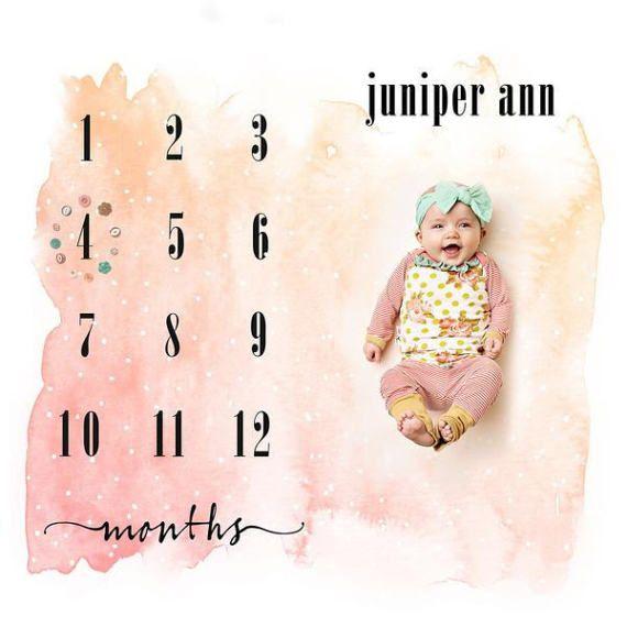 48 X 48 Watercolor Calendar Backdrop Polypaper Photography Backdrop Growth Chart 1 To 12 M Watercolor Calendar Baby Calendar Photography Backdrop