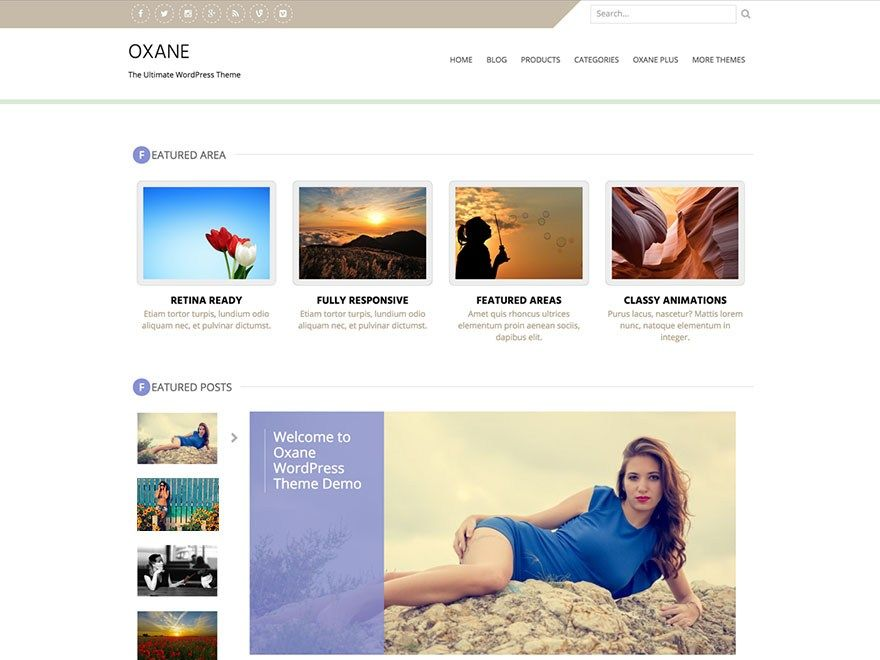 Download Free Oxane WordPress theme