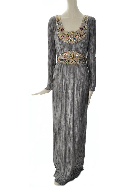 Vintage Mary McFadden Couture Beaded Fortuny Evening Gown | From a collection of rare vintage evening dresses at https://www.1stdibs.com/fashion/clothing/evening-dresses/
