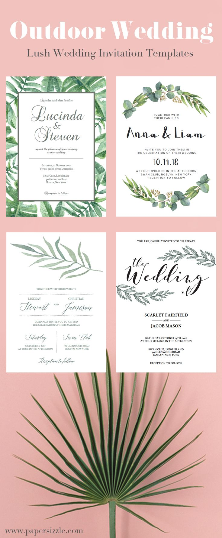 Lush greenery wedding invitations by Papersizzle. The invitation ...