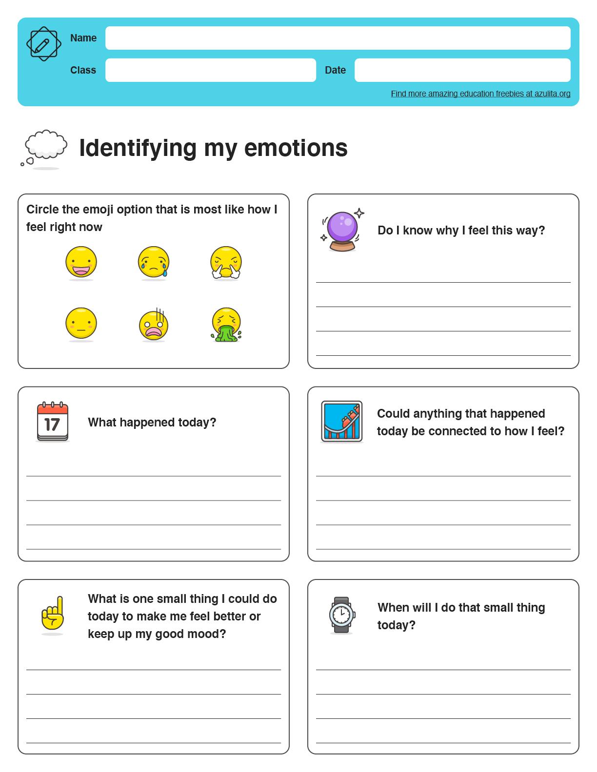 Identifying Emotions Worksheet
