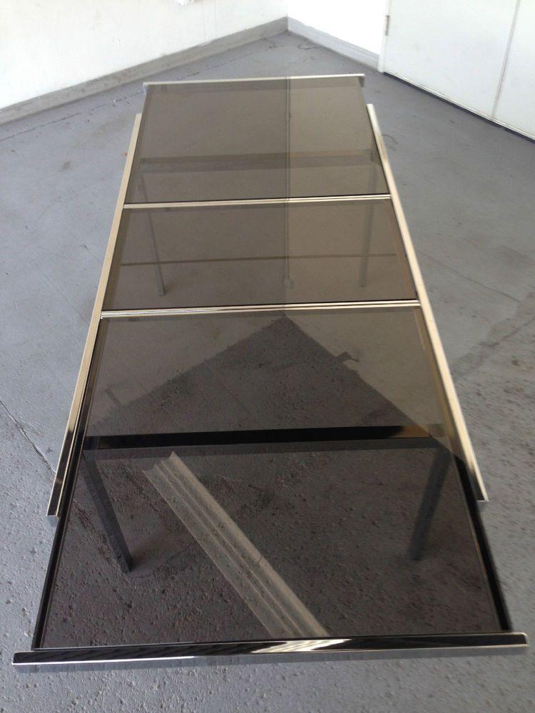 Vintage Chrome & Glass Extension Table BY Milo Baughman  #MidCenturyModern #MiloBaughman