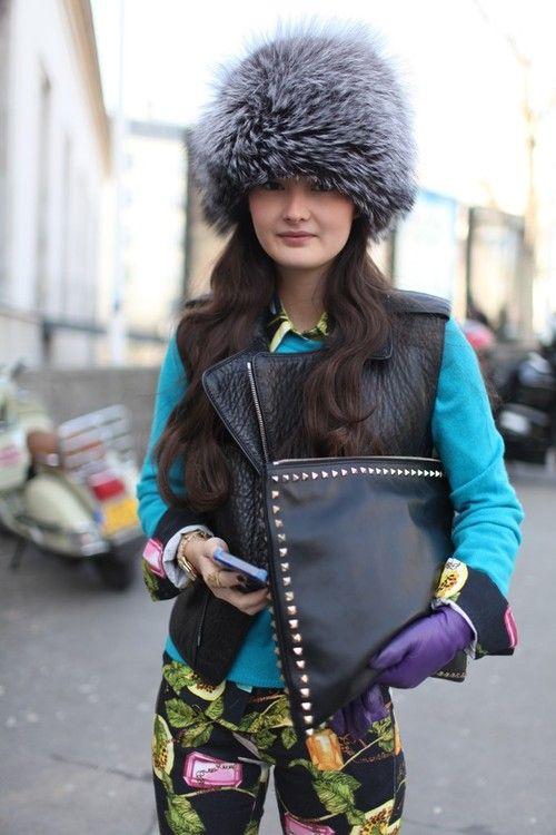 Fashion blogger Peony Lim during Paris Fashion Week, Fall 2013
