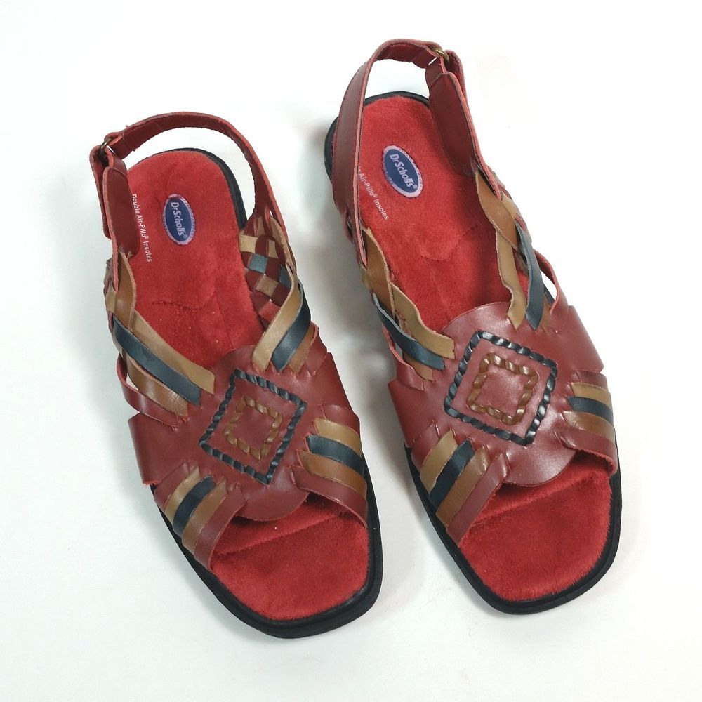 2dd2b3046e69 Dr Scholls 8 M Woven Leather Sandals Multi Color Strappy Slingback Summer  Shoes  DrScholls  Sandals  Casual  ebay