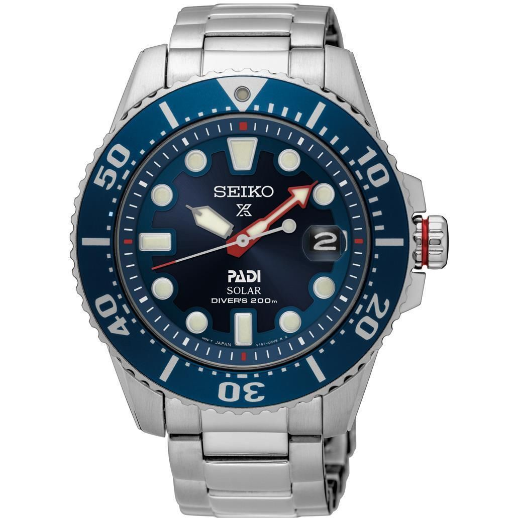 SEIKO MENS PROSPEX SPECIAL EDITION PADI DIVERS 44MM SOLAR ANALOG WATCH SNE435
