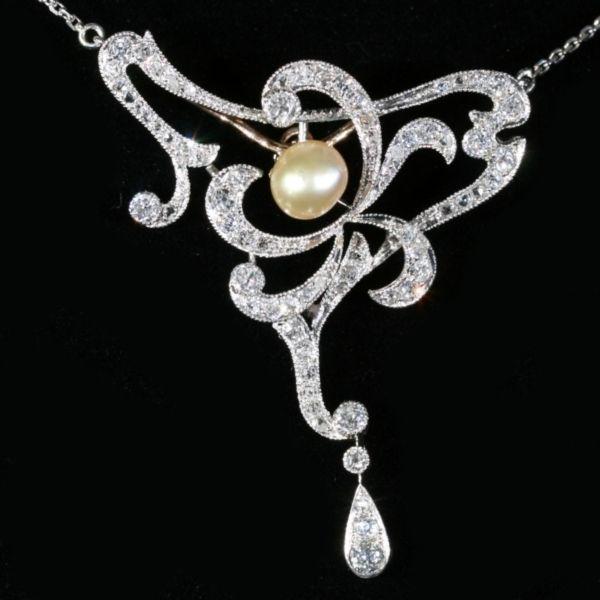 Art Nouveau diamond necklace natural pearl