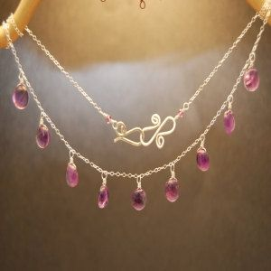 Round smooth amethyst stones on chain by CalicoJunoJewelry on Etsy, $120.00