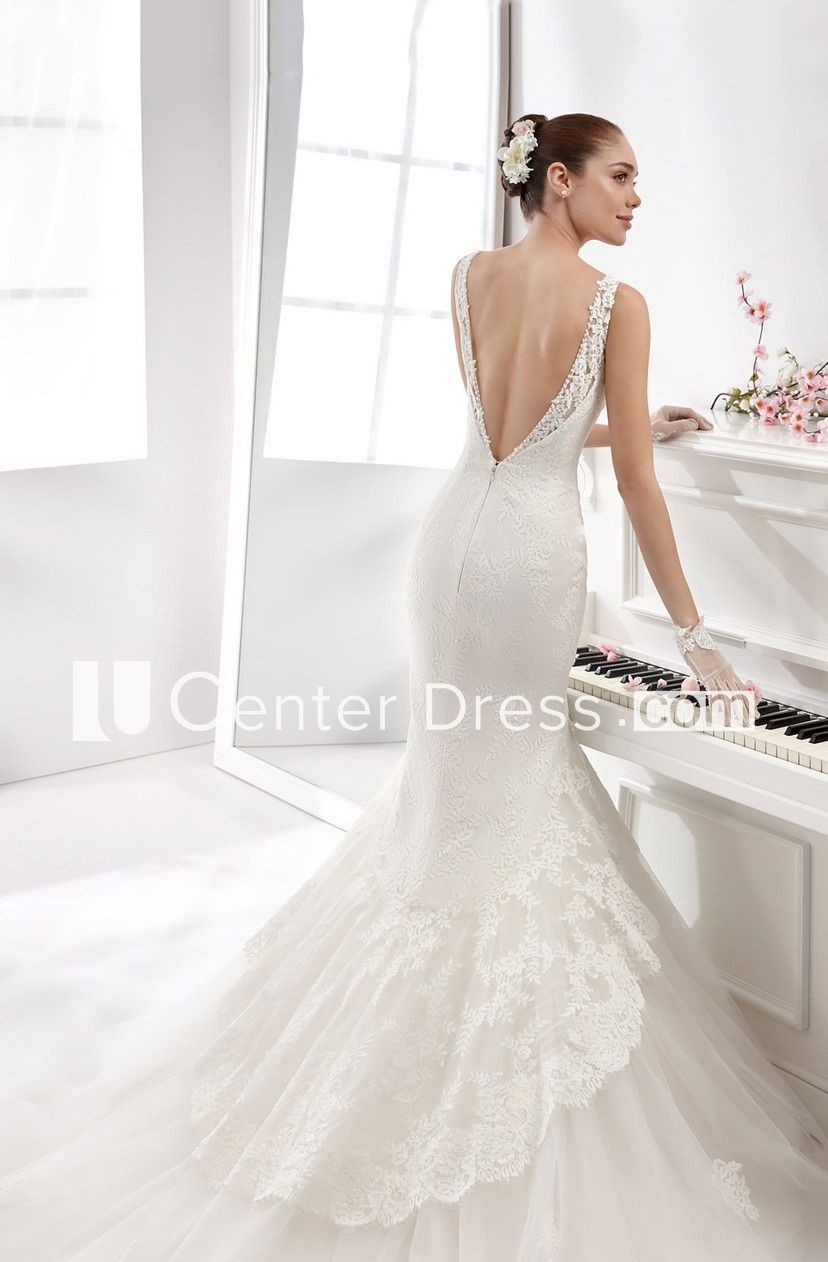 Illusionstrap lace sheath gown with lowv neck and open back in