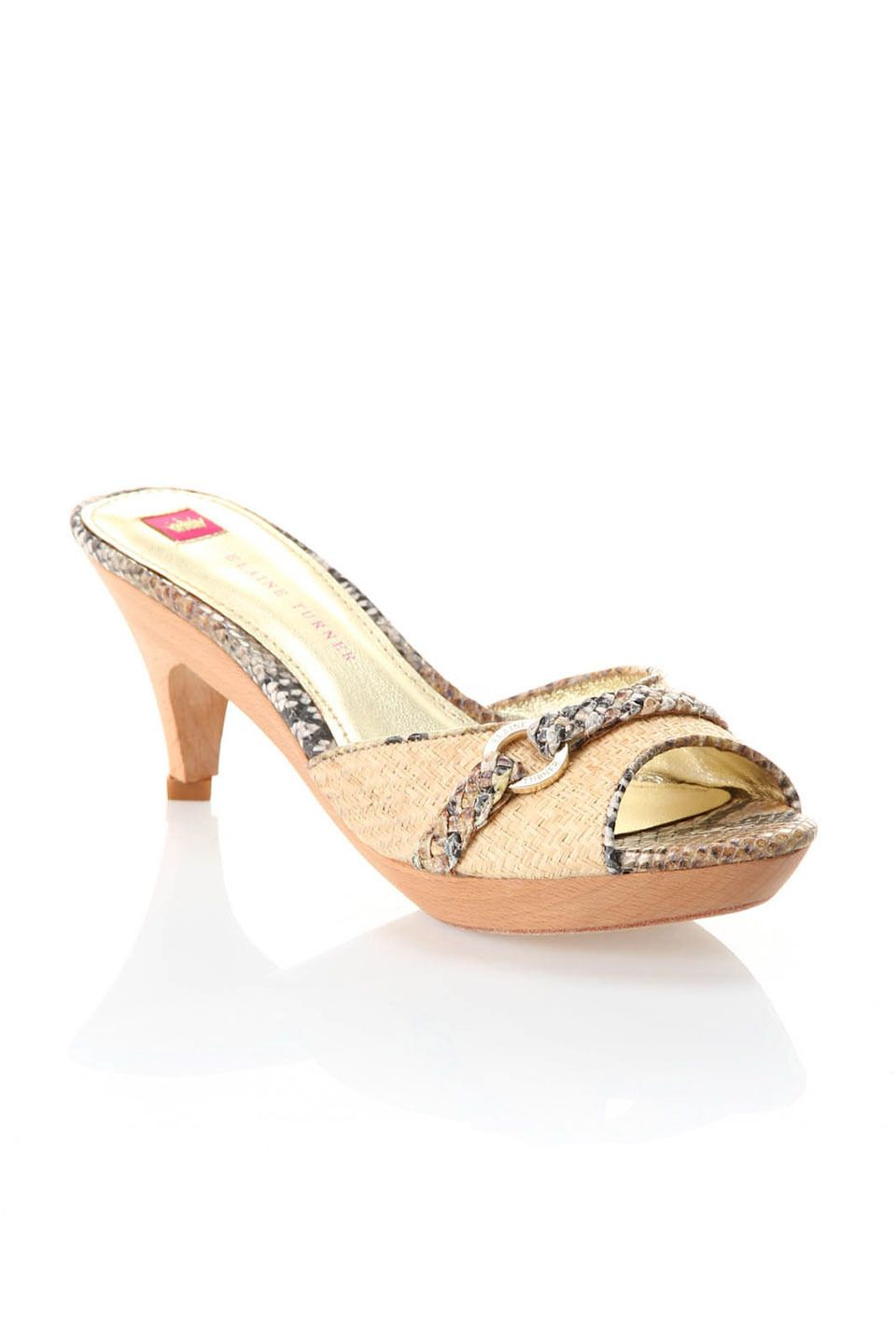 Elaine Turner Monica Pumps In Natural Raffia And Golden Python Me Too Shoes Shoes Heels