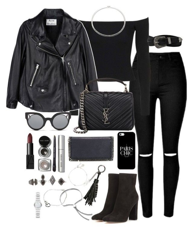 Untitled #2074 by ritavalente on Polyvore featuring polyvore, fashion, style, Topshop, Acne Studios, Gianvito Rossi, Yves Saint Laurent, STELLA McCARTNEY, Charlotte Russe, Monica Vinader, Eddie Borgo, Burberry, Cartier, Casetify, Fendi, AllSaints, Bobbi Brown Cosmetics, NARS Cosmetics and clothing