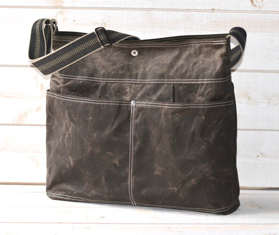 Waxed Canvas bag / Briefcase / Messenger bag / Dark by ikabags