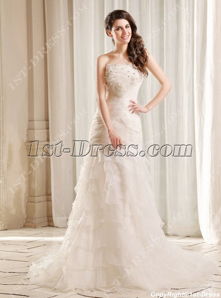 Flatter Strapless Long Trumpet Bridal Gown with Train:1st-dress.com ...