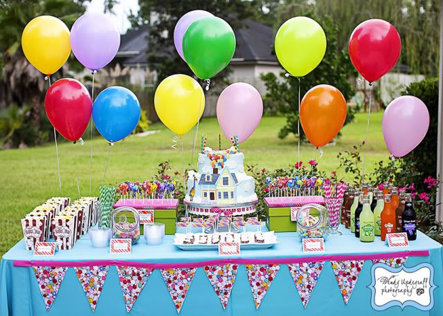 Cute table -- love the balloon heights and color combo. | Kid's ...