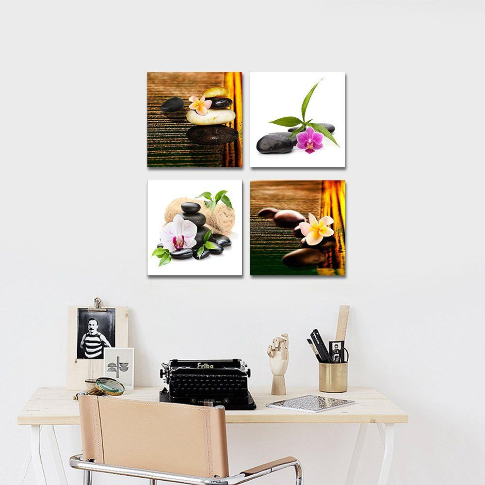 Wieco Art Zen Stone Flowers Canvas Prints Wall Art Brown Nature Pictures Paintings For Living Room Bedroom Ba Living Room Paint Brown Wall Art Living Room Art