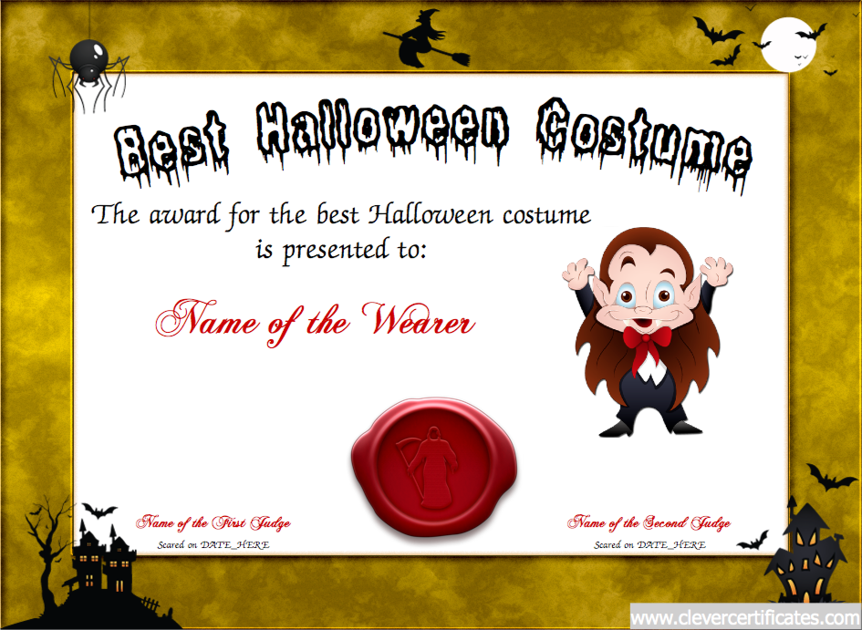 Best Costume Certificate Designer. #Free #halloween templates. You can add text, images, borders & backgrounds. Select images from our library or upload your own for a truly original certificate, #award, #poster or #screensaver. clevercertificates.com #kids #parenting #teachers
