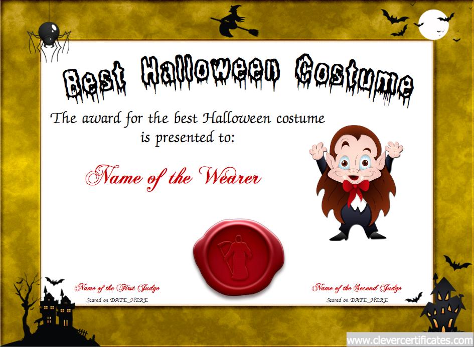 Best Costume Certificate Designer Free Halloween Templates You