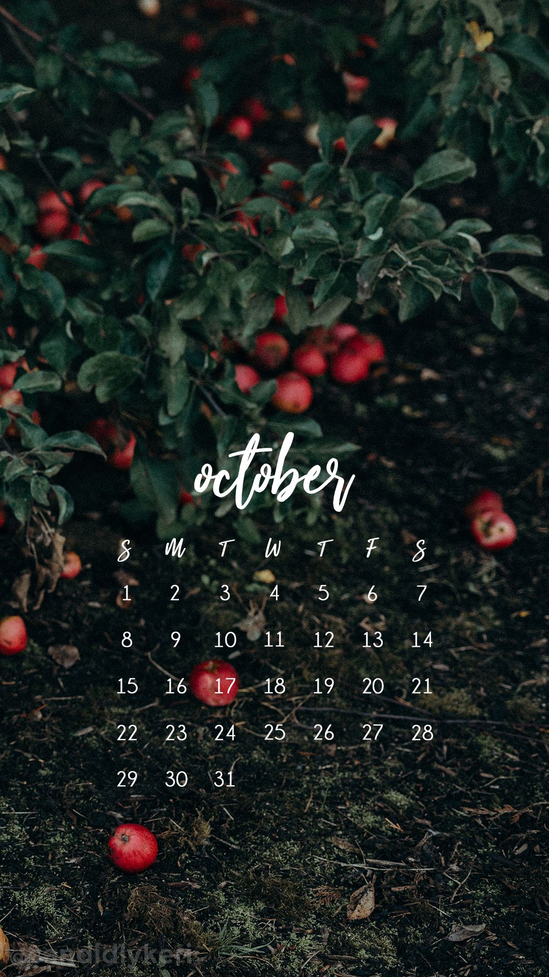 October calendar 2017 wallpaper you can download for free