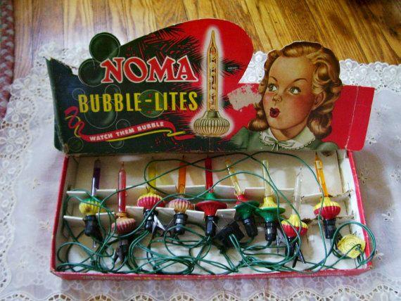 Rare Christmas Antique 1950 S Noma Bubble Lites Lights