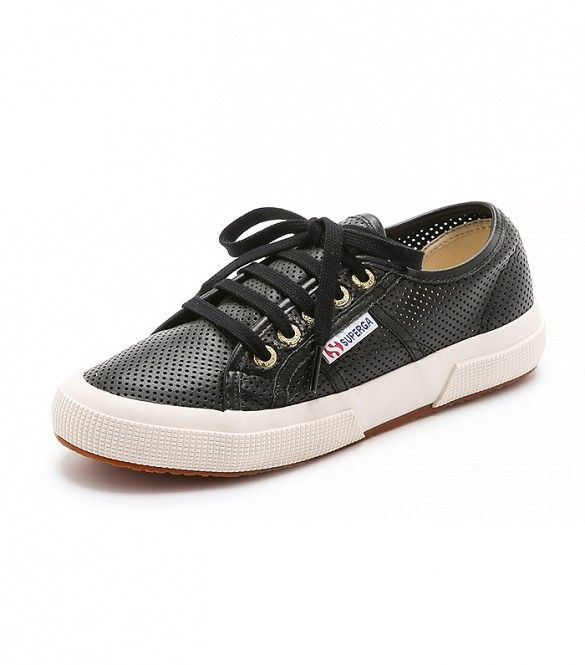 Superga Perforated Leather Sneakers, Black