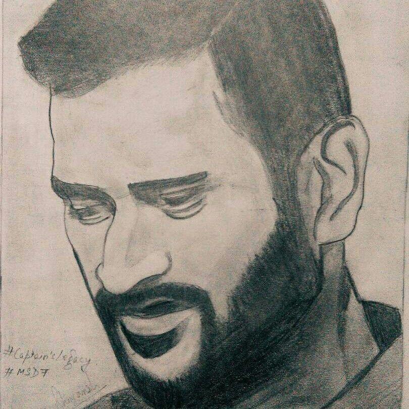 Mahendra Singh Dhoni Art Inspiration Drawing Art
