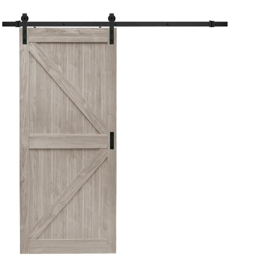 Reliabilt Gray 1 Panel Soft Close Sliding Barn Interior Door Common 36 In X 84 In Actual 36 In Barn Doors Sliding Barn Door Designs Sliding Doors Interior