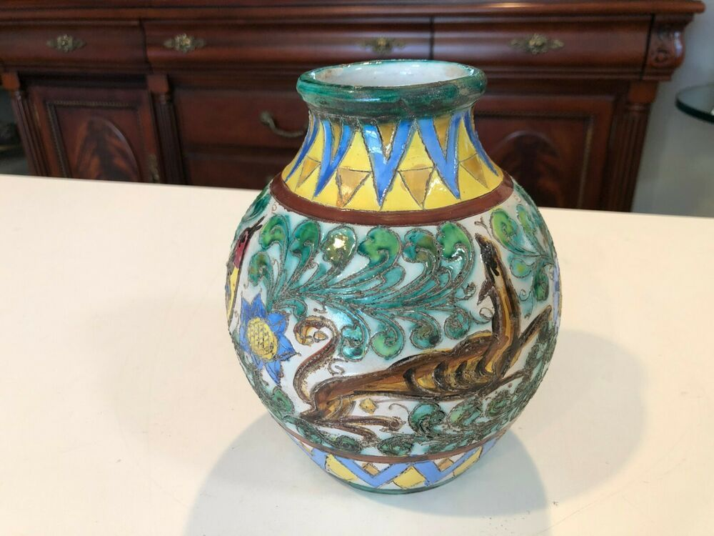 Antique Gg Co New York Italy Hand Painted Art Pottery Vase 7 Tall 6 Wide