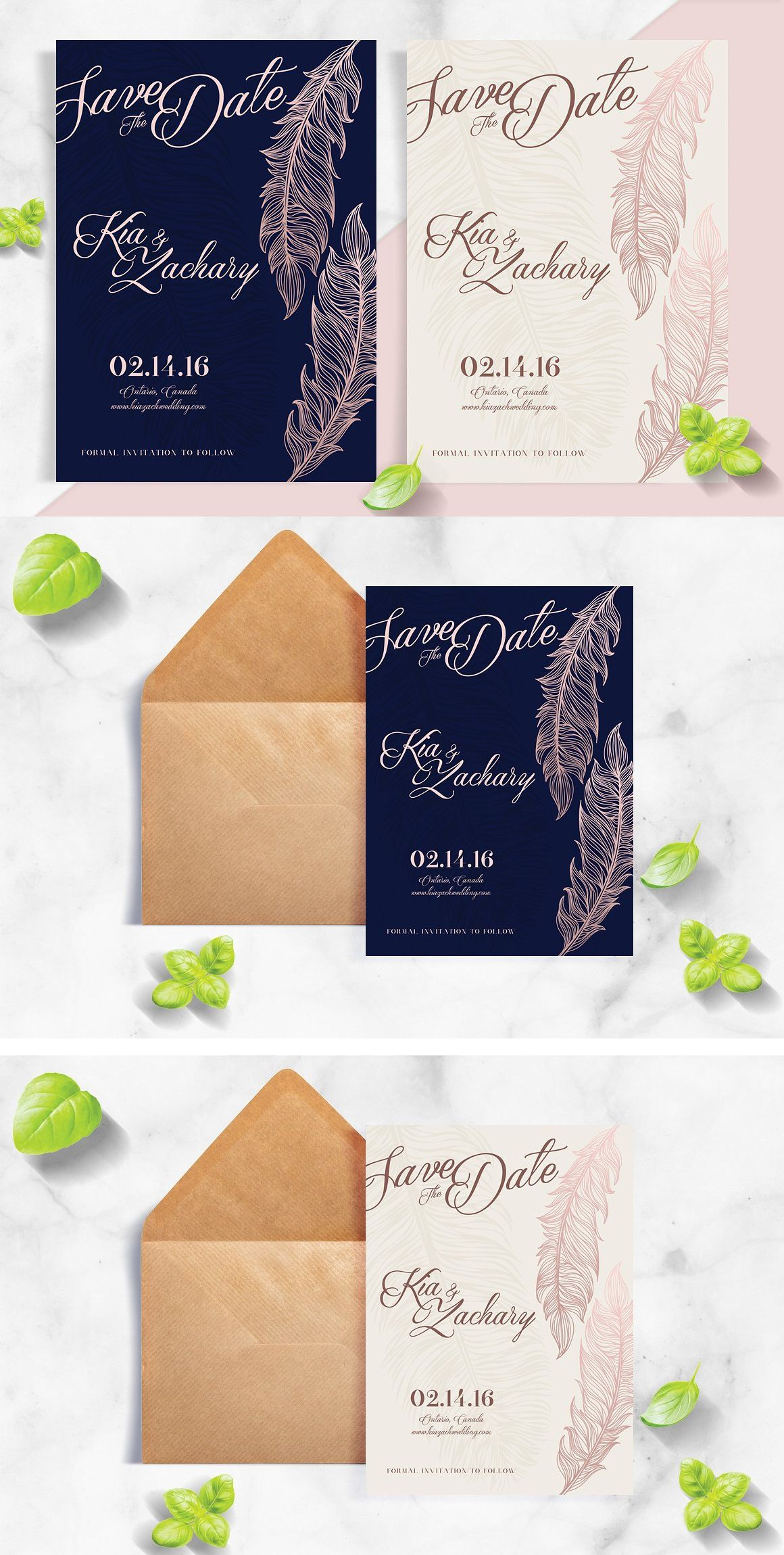 Navy Rose Gold Feather Save The Date