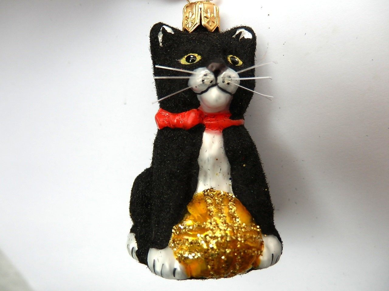 Glass xmas ornaments - Black Cat Sm Kitten European Blown Glass Christmas Ornament Ebay
