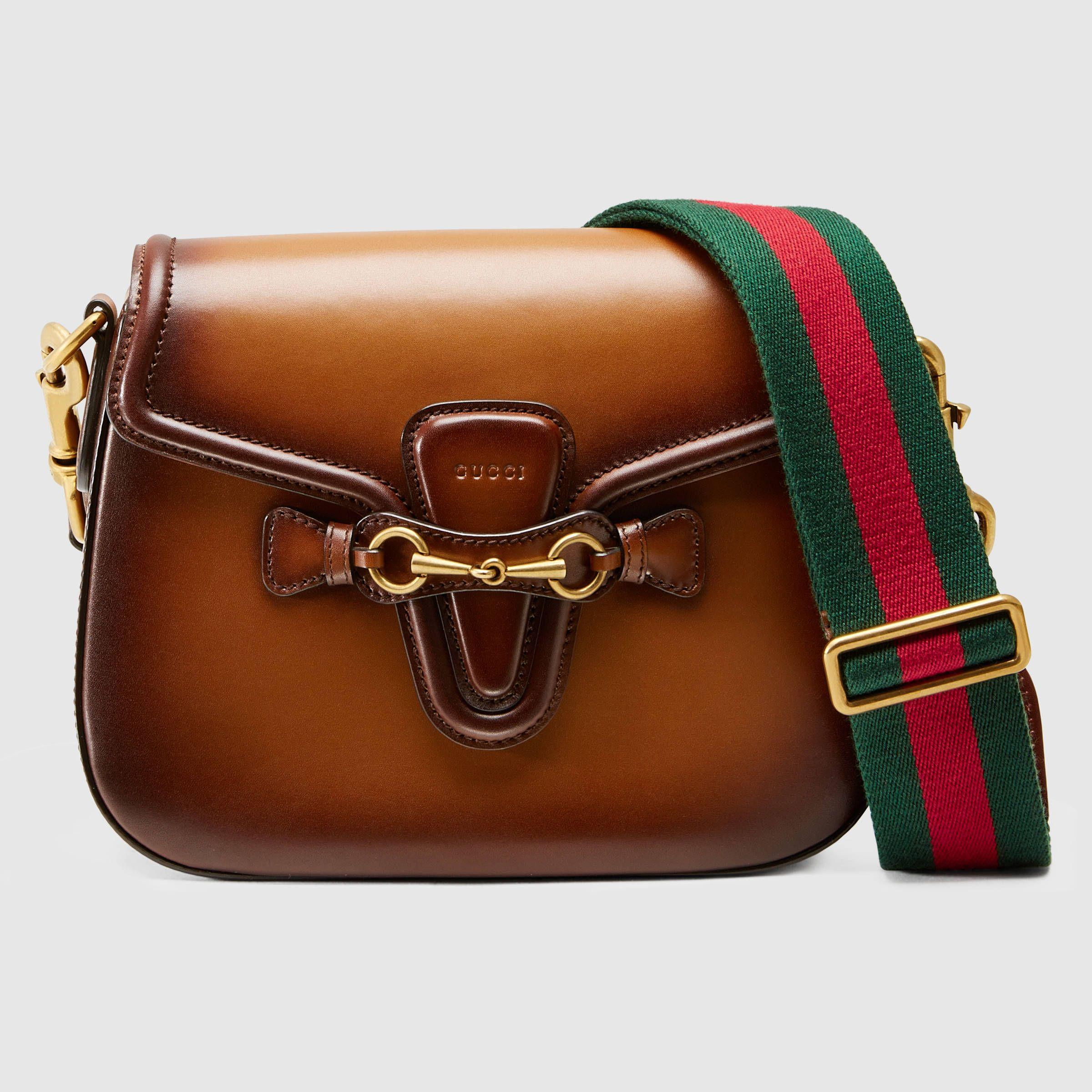 f752635c40b07f Gucci Women - Lady Web leather shoulder bag - 380573B012A2574 | Bag ...