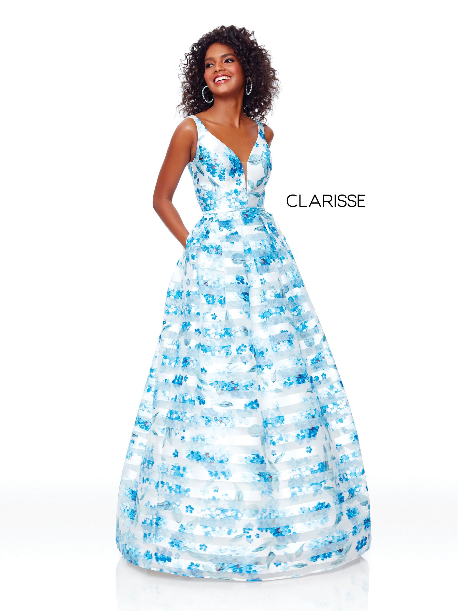 8d22c89e9238 3800 - Blue and white floral print ball with a corset back ...