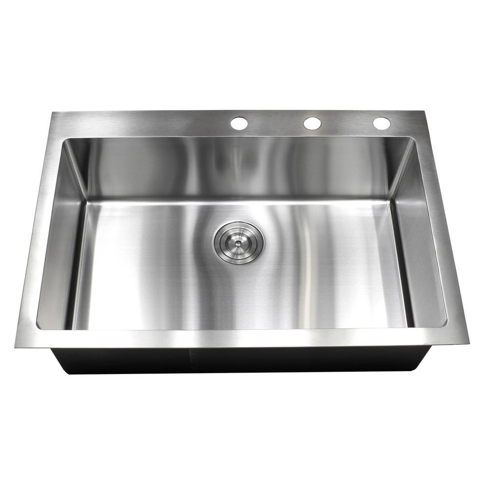Drop In Top Mount 16 Gauge Stainless Steel 33 In X 22 In X 10 In Single Bowl Kitchen Sink Rt3322 In 2020 Single Bowl Kitchen Sink Drop In Kitchen Sink Sink