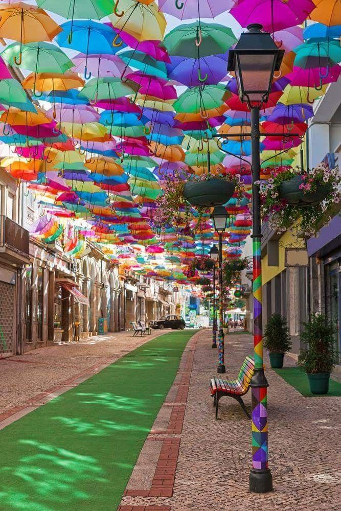 Umbrella Street In Agueda Aveiro Portugal Travel In