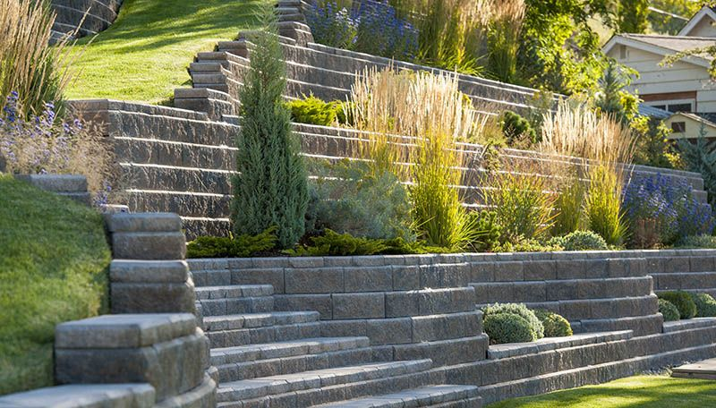 tall grass plants stairs terraced retaining wall allan on retaining wall blocks id=81472