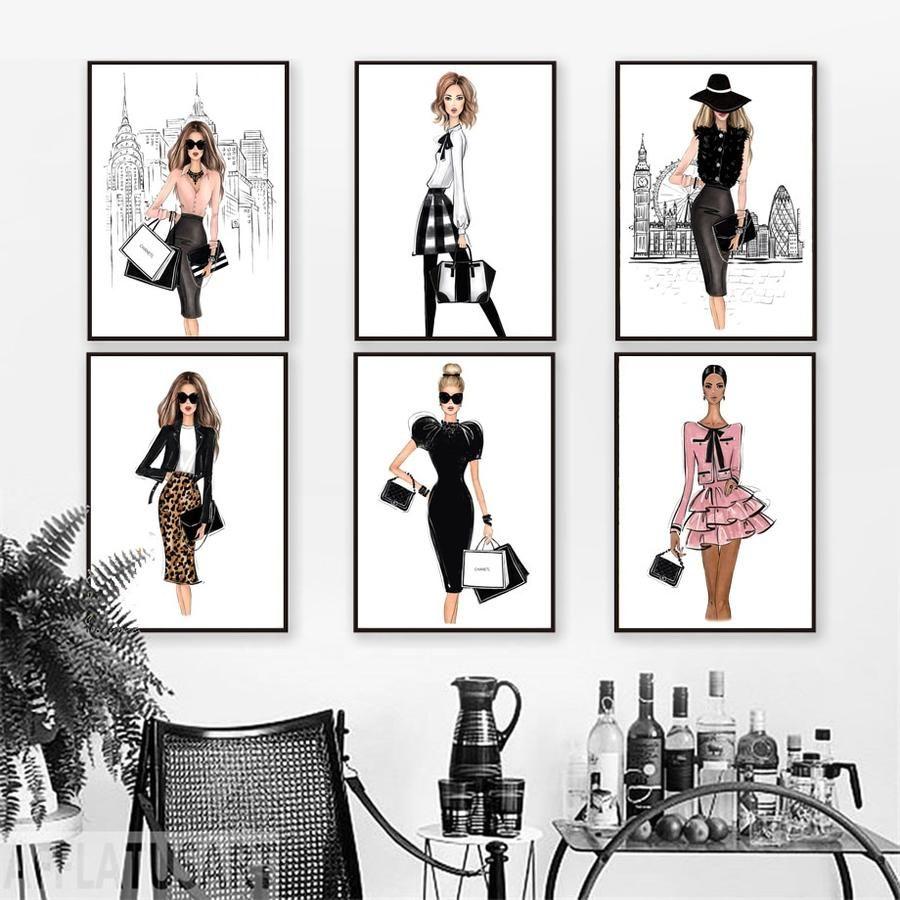 Paris Fashion Girls Wall Art Girls Wall Art Fashion Wall Art Fashion Wall Decor