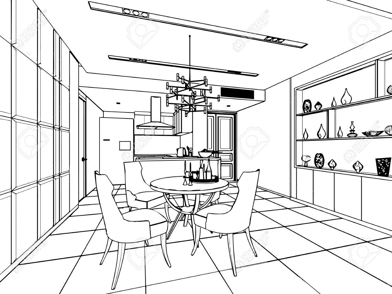prinzipskizze zeichnung perspektive eines innenraums