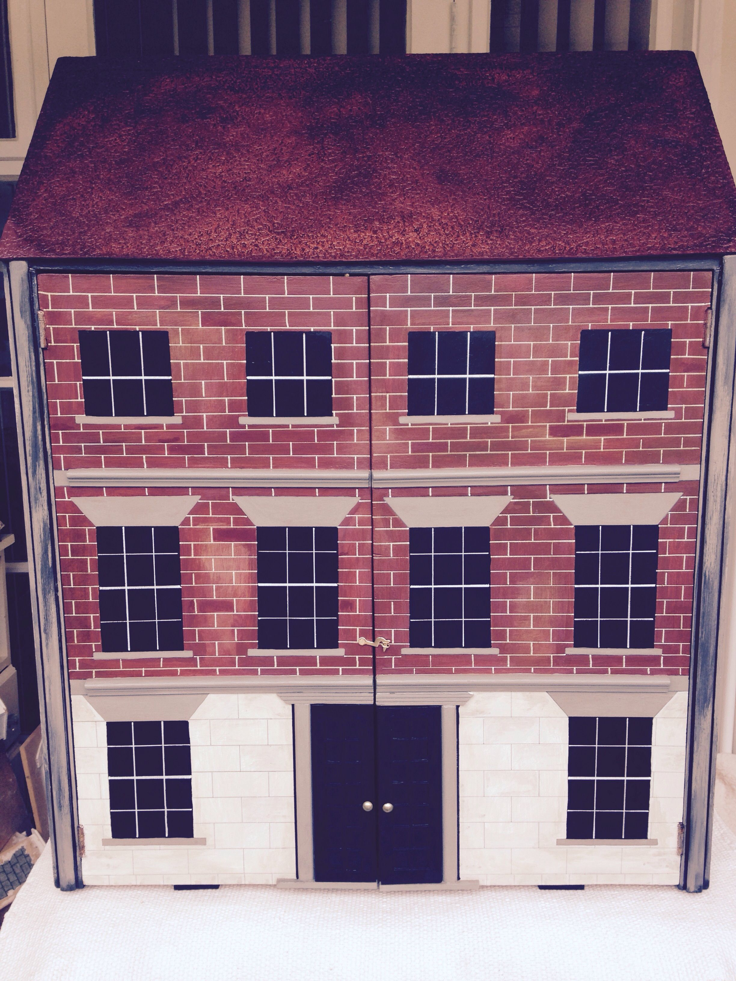 shadow house fully hand painted cupboard style dolls house rh pinterest com