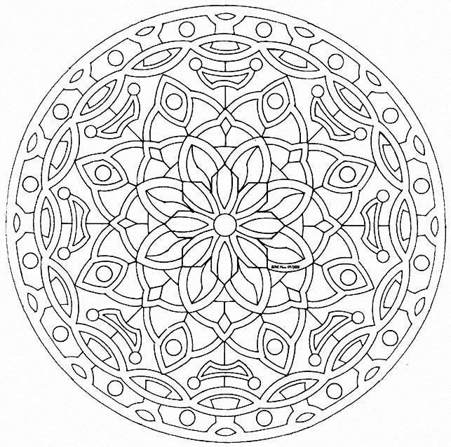 Simple and very symetric mandala coloring pagea partir de la galerie flowers vegetation - Dessin vegetation ...