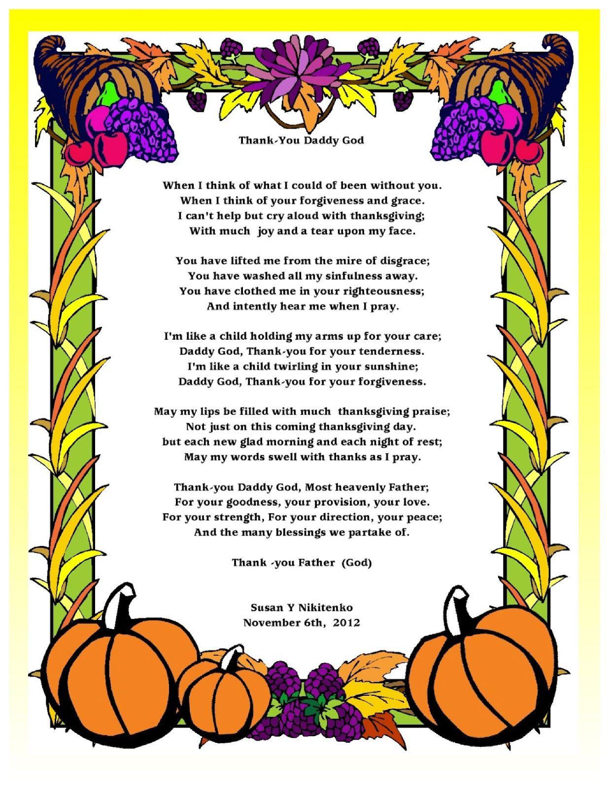 Blessings Thanksgiving poems pictures exclusive photo