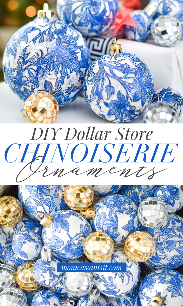 Diy Dollar Store Blue White Chinoiserie Ornaments Holiday Style
